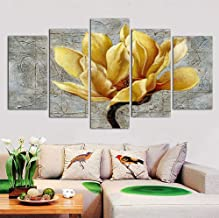 "DXYJUYI Large Yellow Grey Flower Wall Art Abstract Print on Canvas Home Decor Pictures 5 Panels Poster Bedroom Living Room Printed Painting Framed Ready to Hang 60""W x 32""H wm1030_2"