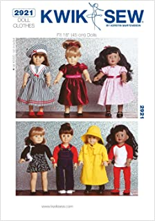 Kwik Sew K2921 Dolls Clothes Sewing Pattern, Size Fits 18-Inch Dolls
