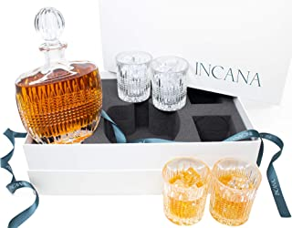 INCANA Whiskey Decanter Set. Art Deco Gatsby Collection Crystal Whiskey Decanter Glass Set. Liquor Decanter & 4 Cocktail Glasses. Stunning Lead Free Ultra-Clarity Glass For Scotch Whisky in Gift Box
