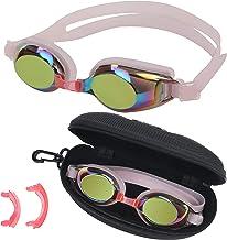 BEZZEE PRO Kinderzwembril - UV-bestendige lekvrije spiegelbril - gekleurde lens met opbergkoffer en 3 verwisselbare neusbr...