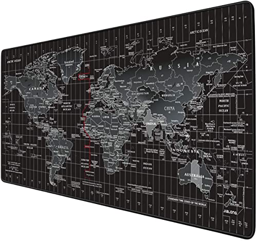 JIALONG Gaming Mouse Pad Large Size 35.4 X 15.7X 0.12inches Desk Mousepad with Personalized Design for Laptop, Computer PC - Black World Map with Time product image