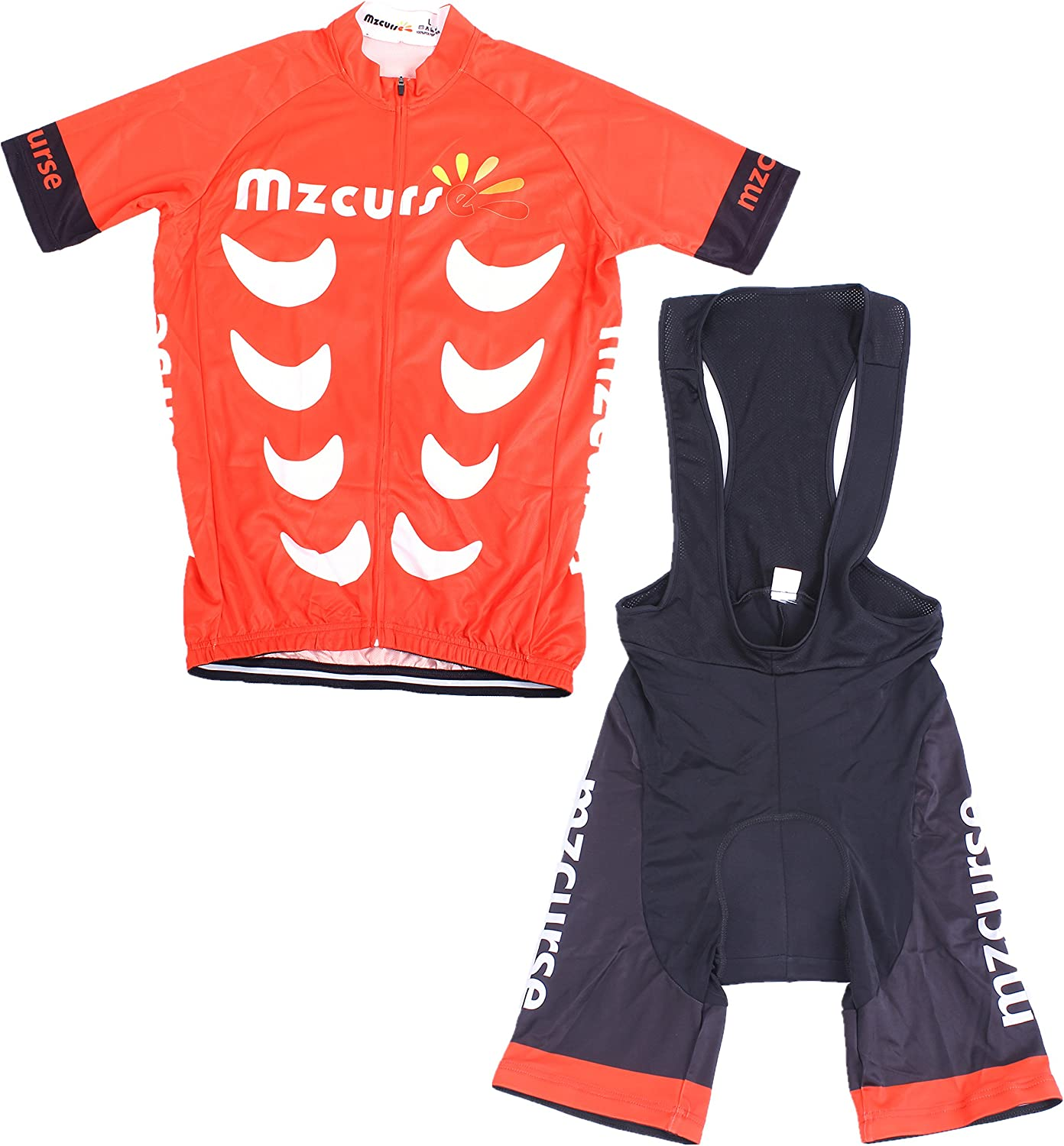 Mzcurse Cycling Team Bike Bicycle Cycling Wear Mountain Short Shirt Jersey + Shorts Suit Sets (Red2 Bib, L)