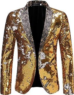 Allthemen Mens Tuxedo Slim Fit Suit Lapel Blazer Party Prom Clubwear Sequin Suits Jacket