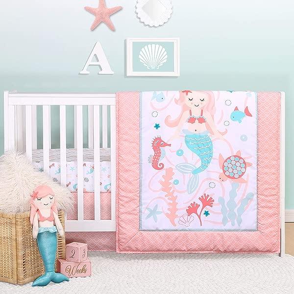 Mermaid Kisses 4 Piece Baby Girl Crib Bedding Set