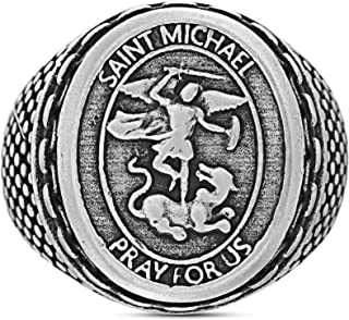 Oxidized Stainless Steel Saint Michael Medallion with Chain Design Border Ring for Men (Various Sizes)