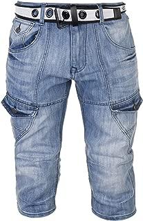 Mens Belted Denim Jeans Cargo Shorts