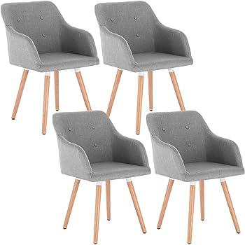 WOLTU 4 x Esszimmerstühle 4er Set Esszimmerstuhl Küchenstuhl Polsterstuhl Design Stuhl mit Armlehne, mit Sitzfläche aus Leinen, Gestell aus