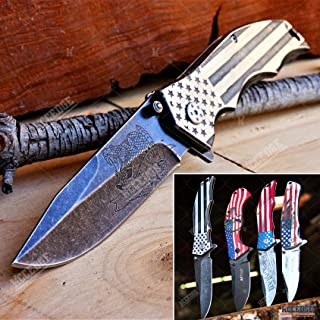 KCCEDGE BEST CUTLERY SOURCE USA American Flag 8 Inches Punisher Folding Pocket Knife Proud of America Knife