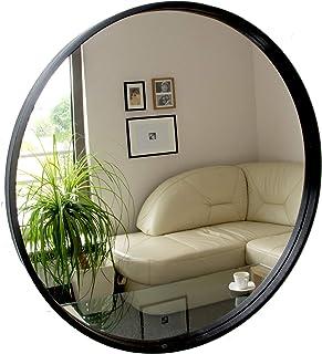 BD ART Espejo Redondo Moderno Espejo de Pared diámetro 50 cm Madera Color Negro