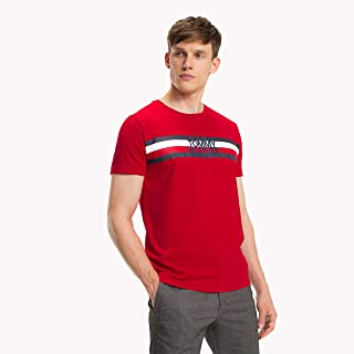 TOMMY HILFIGER Men's Signature Logo T-Shirt, Haute Red, XL