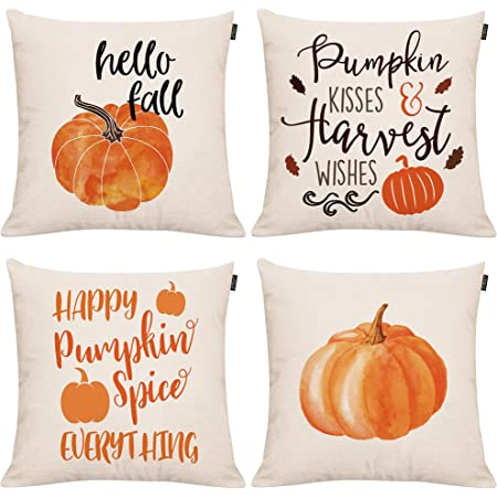 Amazon Com Gtext Set Of 4 Fall Pumpkin Throw Pillow Covers Autumn Decor Pumpkin Pillows Cuhion Covers Cases For Couch Sofa Home Decoration Fall Pillows Linen 18 X 18 Inches Home Kitchen