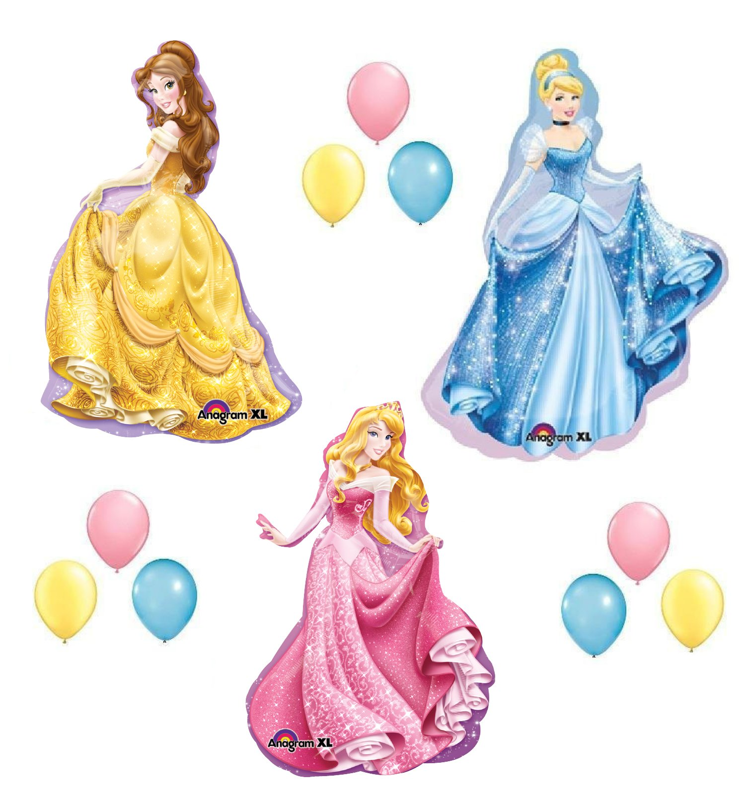 Amazon Com Disney Princess Balloons Set Sleeping Beauty Belle Cinderella Party Birthday By Lgp Kitchen Dining