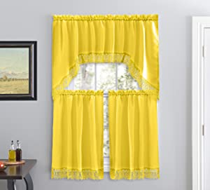 Café Curtains for Kitchen, Bathroom Curtains with Valance, Embroidered lace Border. (Yellow)