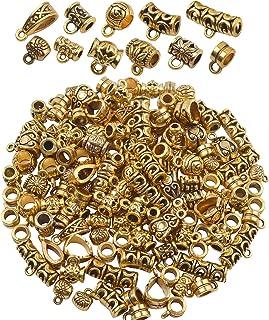 BronaGrand 100 جرام (حوالي 120-150 قطعة) خرز بكفالة ذهبي ومختلط، خرز مباشر، خرز أنبوبي، حُلي سوار، قلائد للمجوهرات وصناعة ...