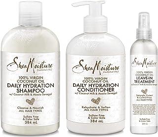 Shea Moisture 100% Virgin Coconut Oil Trio Set Daily Hydration Conditioner 13 Ounce Daily Hydration Shampoo 13 Ounce & Le...
