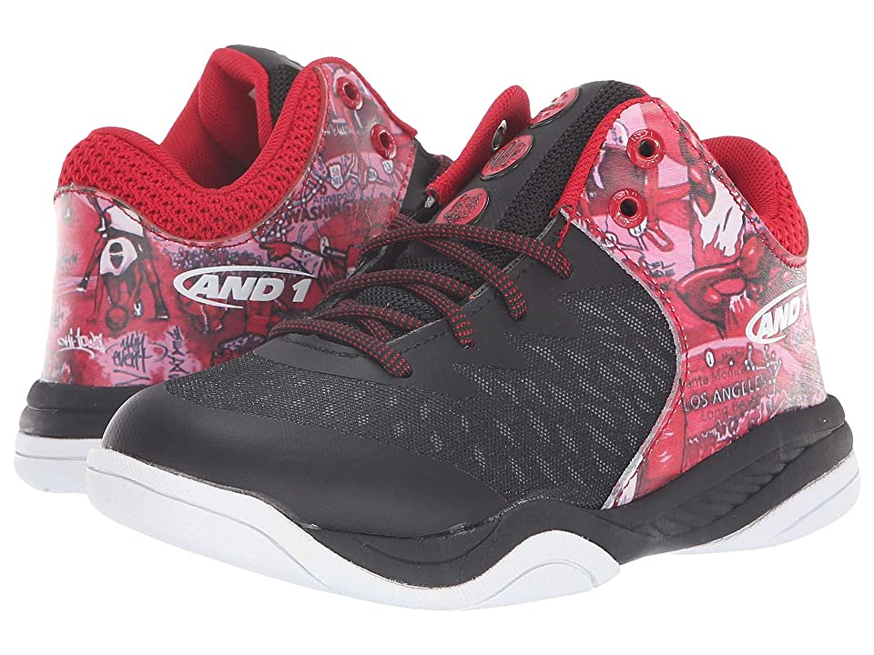 AND1 Kids Attack Mid (Little Kid/Big Kid) (Black/Mixtape Graffiti/Chinese Red) Boys Shoes