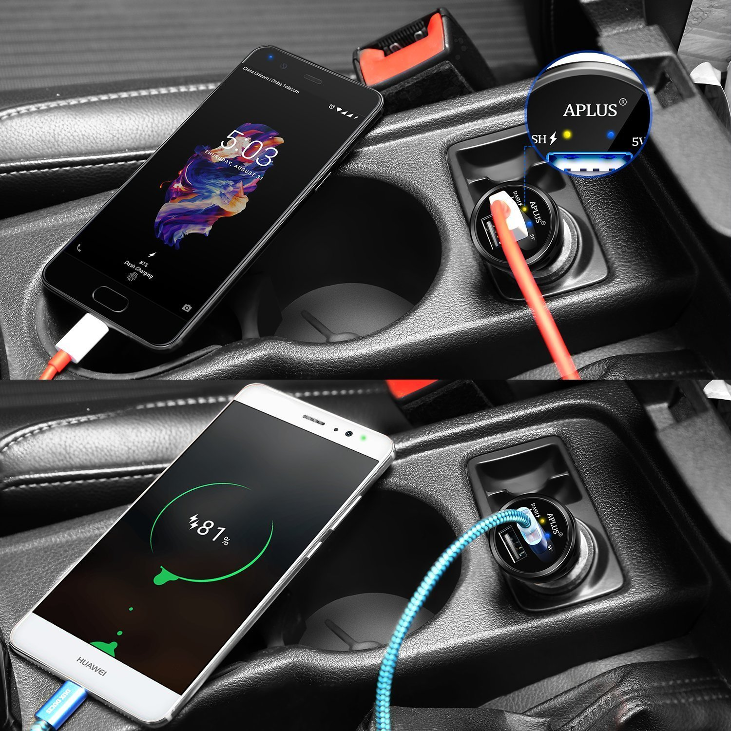 Dash Car Charger, Aplus Dual USB Charging Rapidly Car Charger for Oneplus 3 3T 5 5T 6 6T (Black)