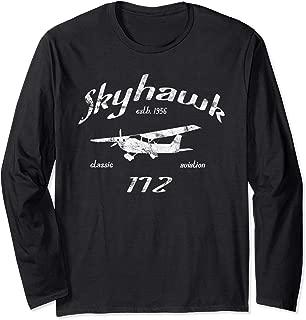 172 Skyhawk Airplane Classic Vintage Aviation Private PIlot Long Sleeve T-Shirt