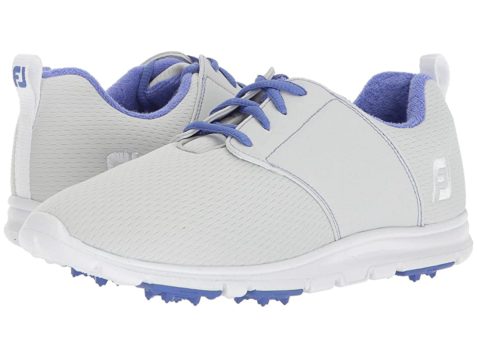 FootJoy Enjoy Spikeless Mesh Saddle (Light Grey/Lime Trim/Royal Blue) Women