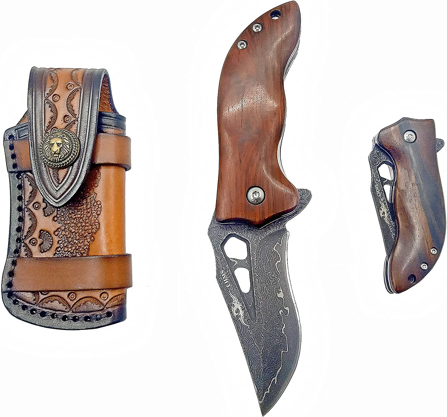 Pocket Knife with New Popular product arrival Leather Sheath Steel VG10 Blade Damascus Core