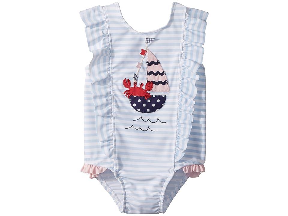 Mud Pie Sail Away Ruffle One-Piece Swimsuit (Toddler) (Blue) Girl