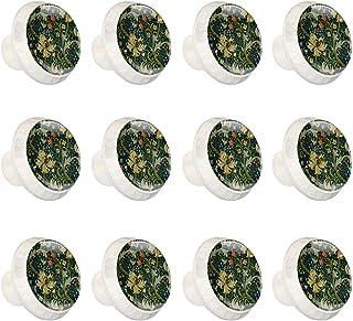 Boutons D'armoire 12 Pcs Poignés Poignée De Champignons Porte Poignées avec Vis pour Cabinet Tiroir Cuisine,Brousse de fleur