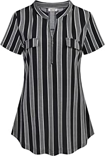 Womens Short Sleeve Plaid Tunic Shirt Zip up V Neck Work Casual Blouse Top