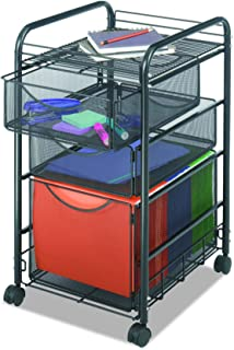 Safco Products Onyx Mesh File Cart with 1 File Drawer and 2 Small Drawers, Black (5213BL)