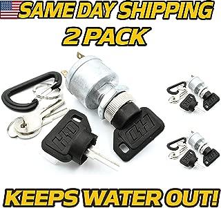 (2 Dealer Pack) EZGO 33639-G01 Golf Cart Starter Ignition Key Switch - w/ 8 Keys, 4 Prong, 1981 & Up - HD Switch, EZ-GO 33639G01