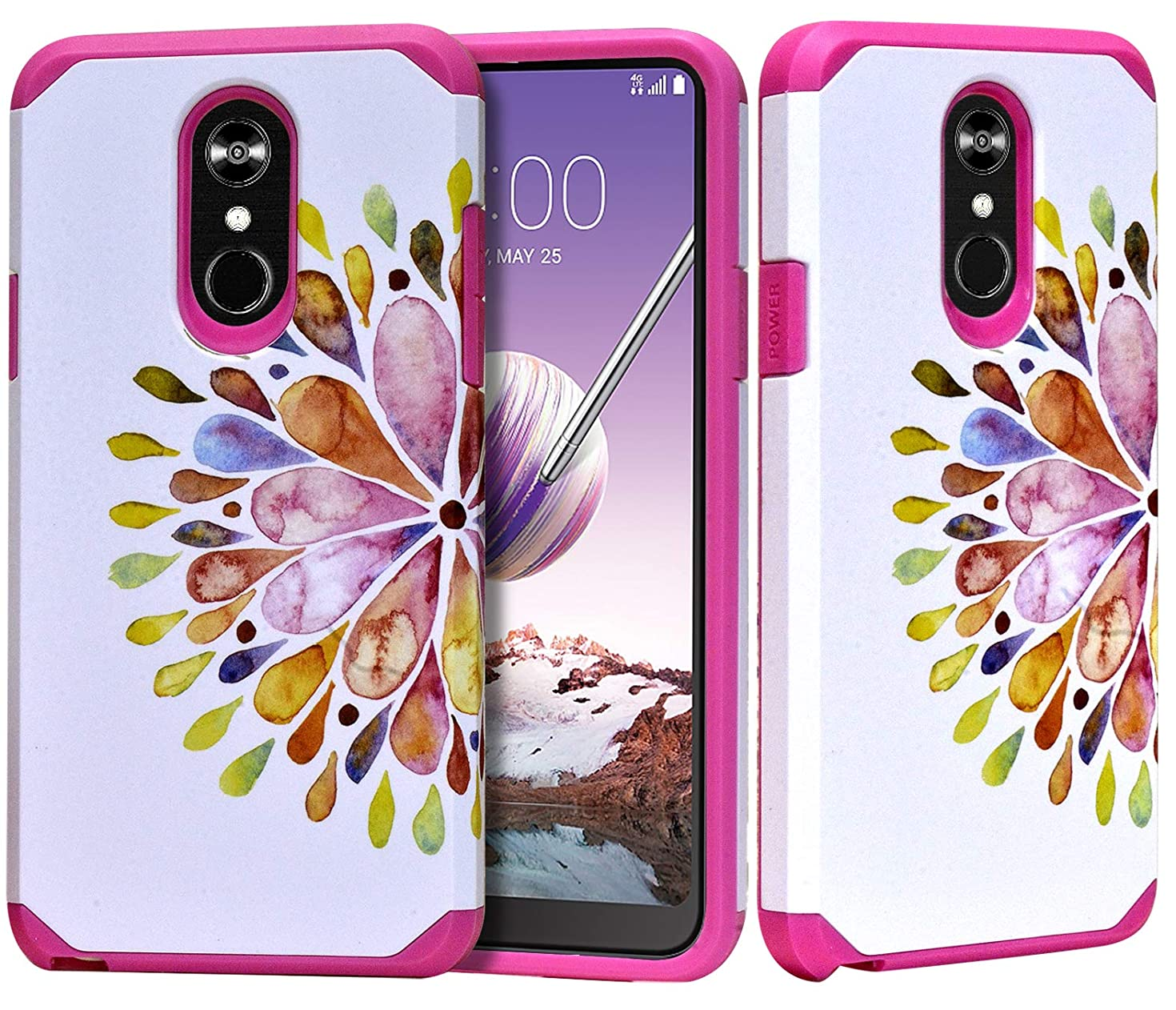 Phonelicious LG STYLO 4 Plus Case LG STYLO 4 Phone Cover Dual Layer Hybrid Slim Fit with Screen Protector Compatible with LMQ710, L713DL (Mandala)