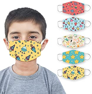 LIMIT Fashion Store - 2-Layer Astronaut Designer Printed Kids Face Mask (Pack Of 5) (BOYS/GIRLS)