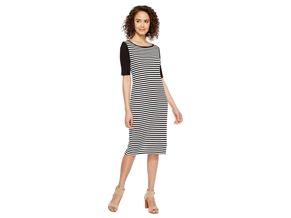 Three Dots Mykonos Stripe Blocked Sheath (Black/White) Women