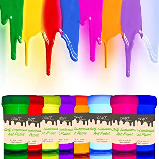 individuall Craft Glow in The Dark Paint - Set of 8 Self-Luminous Paints – Phosphorescent Afterglow Paint – Glowing Effect Neon Paint