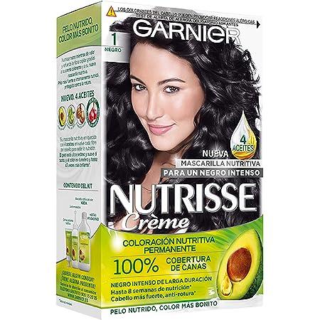 Garnier Nutrisse Creme Coloración Nutritiva Permanente, Tinte 100% Cobertura de Canas con Mascarilla Nutritiva de 4 Aceites - Tono 1 Negro
