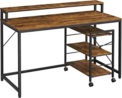 VASAGLE Computer Desk with Large Monitor Stand Rolling Cart, Writing Study Desk with Storage Shelves, Industrial, for Home Office, Rustic Brown and Black ULWD061B01