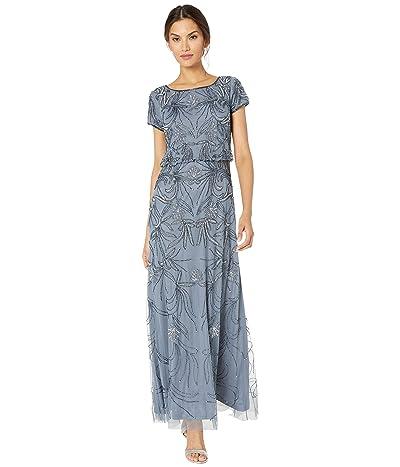 Adrianna Papell Beaded Blouson Evening Gown (Dusty Blue) Women