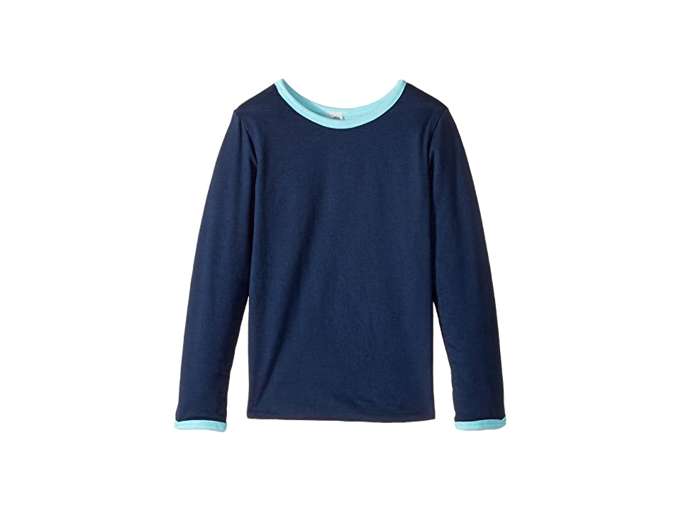 Image of 4Ward Clothing Four-Way Reversible Long Sleeve Scoop Jersey Top (Little Kids/Big Kids) (Sky/Navy) Girl's Sweater