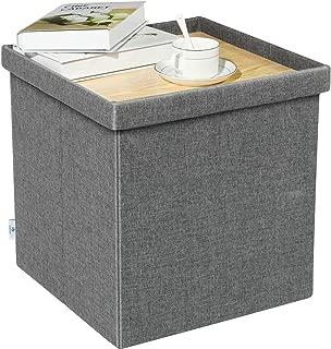 B FSOBEIIALEO Storage Ottoman with Tray, Small Ottomans Cube Folding Coffee Table Foot Stool Footrest Seat, Dark Grey Linen 16