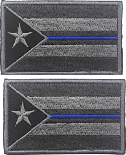 Puerto Rico Flag Police Thin Blue Line Embroidered Hook & Loop Patch Tactical Military Morale Emblem Patches Applique Badge 2PCS