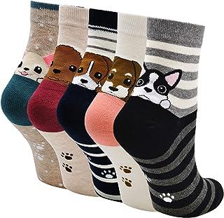 ZAKASA Calcetines de algodón para mujer, novedosos calcetines con diseño de oso panda, gato, perro, para primavera, verano...