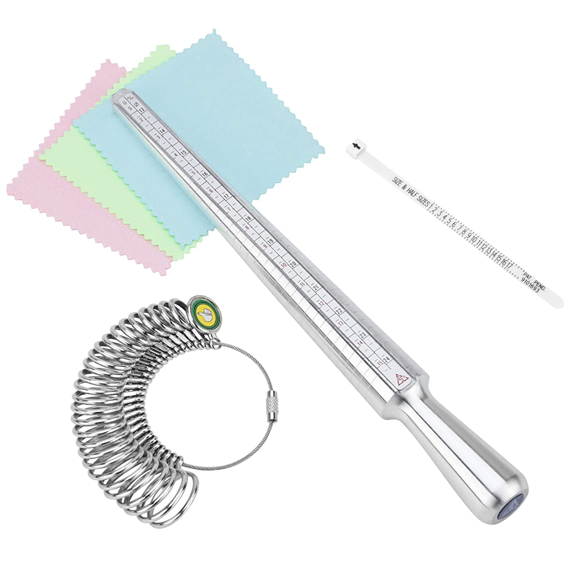 Ring Sizer Mandrel Measuring Tool Iron/Steel/Plastic Gauge Finger Measurement Set With 3 Piece Jewelry Polishing Cloth
