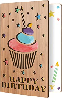 Happy Birthday Card: Real Bamboo Wood Greeting Card With Birthday Cupcake Design, Premium Handmade Wooden Card Perfect Gift For Sending Birthday Wishes