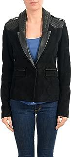 Just Cavalli 100% Leather Black Women's Blazer Jacket US S IT 40