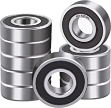 XiKe 10 Pcs 6203-2RS Double Rubber Seal Bearings 17x40x12mm, Pre-Lubricated and Stable Performance and Cost Effective, Deep Groove Ball Bearings.