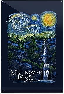 Lantern Press Multnomah Falls, Oregon - Van Gogh Starry Night - Contour 97874 (6x9 Aluminum Wall Sign, Wall Decor Ready to Hang)