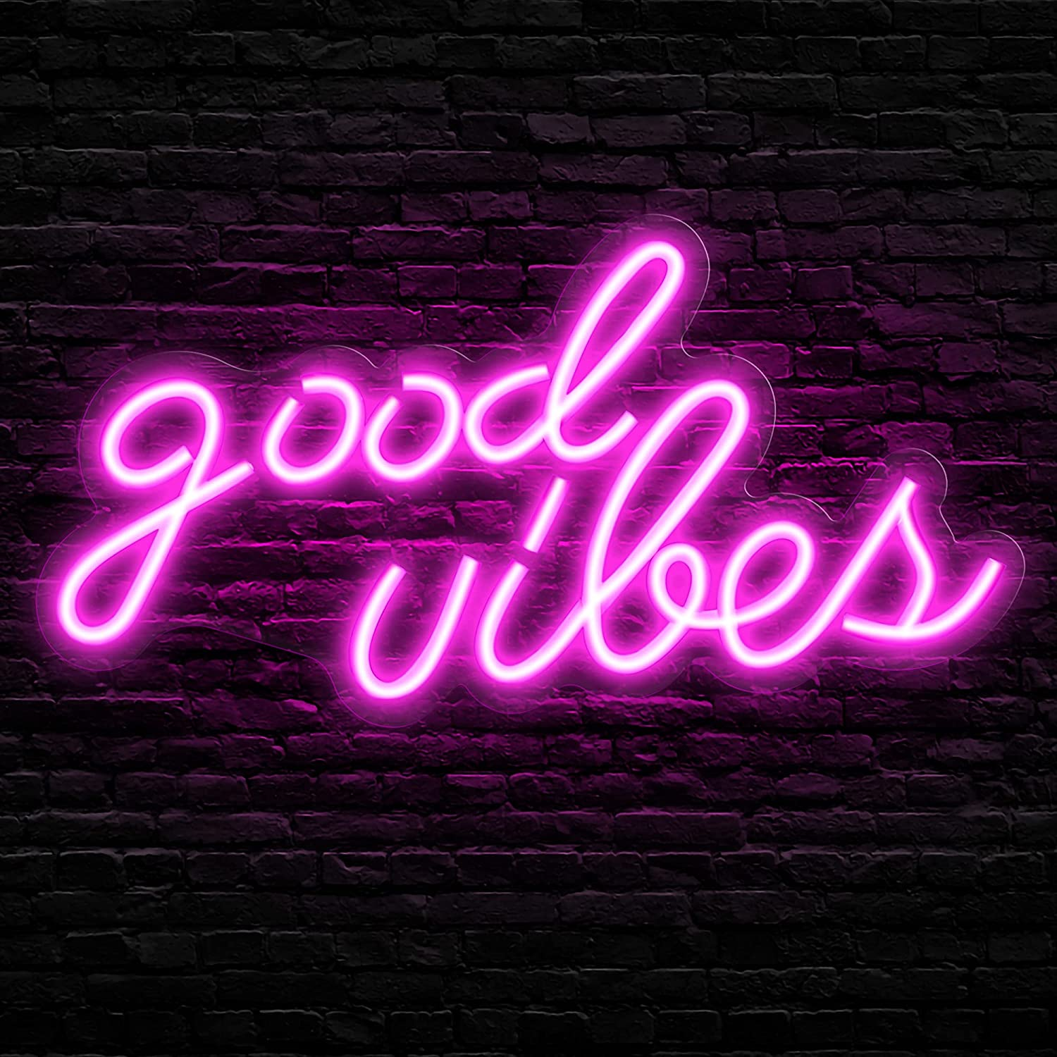 """Olekki Neon Sign Pink """"Good Vibes"""" Led Signs - Neon Lights for Bedroom, Neon Wall Signs, Game Room Decor, Party, Bar Neon Decor (16.1 x 8.3 inch)"""
