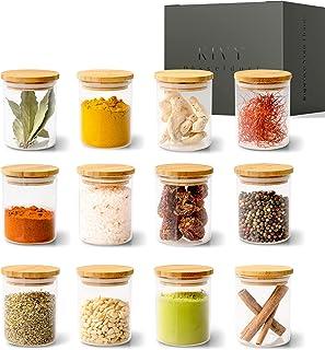 KIVY® Lot de pots à épices [12 x 150 ml] – Boîtes à épices empilables en verre – Set de pots à épices ronds – Rangement de...