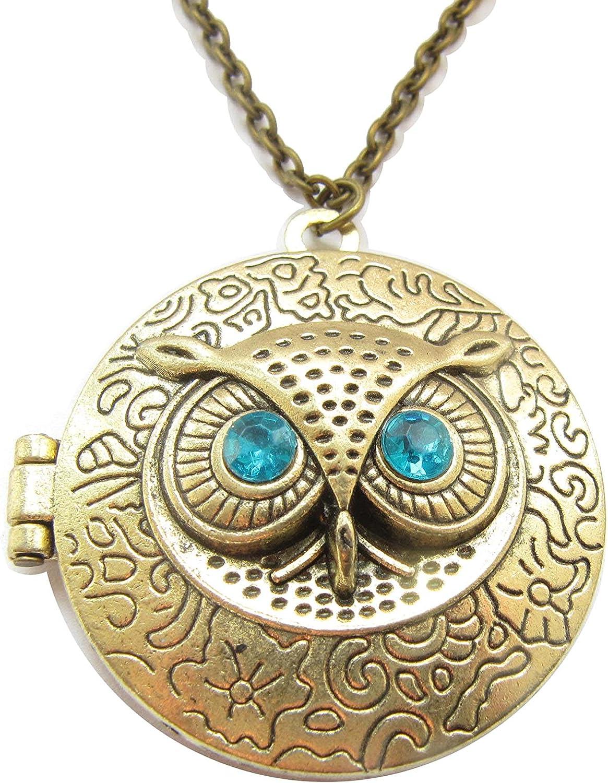 Vintage Style Owl Locket Pendant Necklace