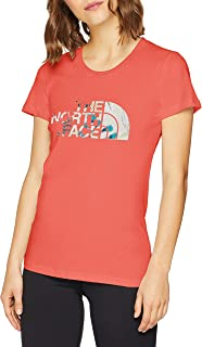 The North Face Women's S/S Easy Tee Tees And T-Shirts, Multicolour (Spiced Coral Hey), Small