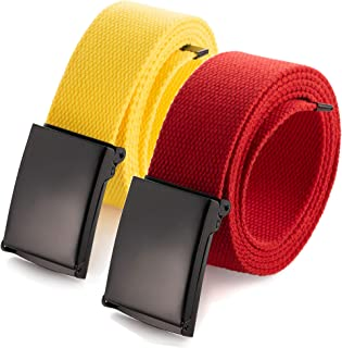 """Cut To Fit Canvas Web Belt Size Up to 52"""" with Flip-Top Solid Black Military Buckle (16 Color and Combo Pack Options)"""